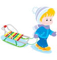 Child with a sleigh vector image vector image