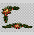 christmas decoration set of fir and holly wreath vector image