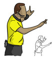 close-up male referee with yellow jersey shirt vector image