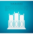 Courts room with table chairs flat icon on blue vector image