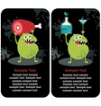 Cute monster microbe and meat with drink vector image vector image