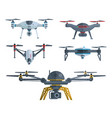 different flying drones isolated on white vector image