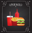fast food menu on blackboard vector image
