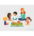 Female teacher tells fairy tales using pop-up book vector image vector image