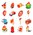 Firefighter isometric 3d icon vector image vector image