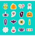 Flat Halloween Party Objects Stickers Set vector image vector image