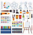 flat set with fine artist stationery vector image vector image
