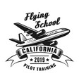 flying school vintage emblem with airplane vector image vector image