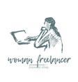 freelancer woman laptop computer art sketch vector image vector image