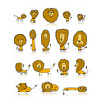 funny lions set sketch for your design vector image vector image