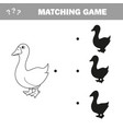 goose birds shadow matching game vector image vector image