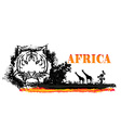 grunge background with African fauna and flora vector image vector image