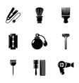 hairdressing salon icons set simple style vector image