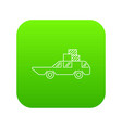 hatchback with boxes icon green vector image
