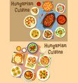 hungarian cuisine lunch icon set for food design vector image
