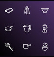 kitchenware icons line style set with baking paper vector image