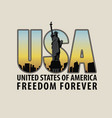 letters usa with the image of statue of liberty vector image vector image