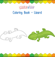 Lizard coloring book educational game vector image vector image
