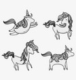 Magic unicorns doodle icons