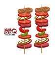 meat stick delicious bbq food vector image vector image
