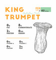 nutrition facts of mushroom type king trumpet vector image vector image