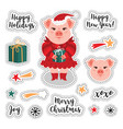 patch set - christmas and happy new year vector image
