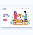 people donation website landing page vector image
