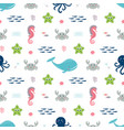 seamless pattern with colorful marine animals vector image vector image