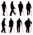 set silhouette of disabled people on a white vector image vector image
