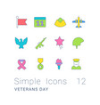set simple line icons veterans day vector image vector image
