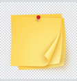 stack yellow paper with red pin empty sticker vector image vector image