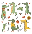 Stunning hand drawn crocodiles set vector image vector image