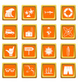 surfing icons set orange vector image vector image