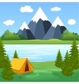Tent Camping Tourist Forest Mountain Expedition vector image vector image