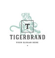 tiger hand drawn logo isolated on white background vector image vector image