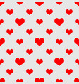 tile pattern with red hearts on grey background vector image vector image