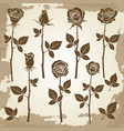vintage grunge rose silhouettes vector image vector image