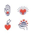 Volunteer icons set vector image vector image