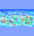 winter landscape with snowcovered houses and vector image vector image