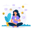 woman with a smartphone social media icons vector image vector image
