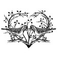 drawing of birds and heart vector image