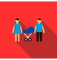Couple with they newborn child in blue pram icon vector image