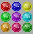 DivX video format sign icon symbol Symbol on nine vector image