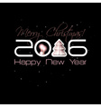2016 Origami Happy New Year Tree greeting card or vector image