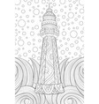 adult coloring bookpage a cute tower on the sea vector image vector image