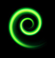 an abstract green swirl on black vector image