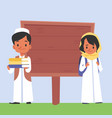 arabian schoolkids standing near blank wooden vector image