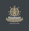 banner for seafood shop with helm and lighthouse vector image vector image