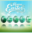 beautiful easter blue green background vector image