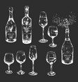 black and white hand-drawn wine set with glasses vector image vector image